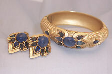 "VINTAGE CROWN TRIFARI SAPPHIRE BLUE ""JEWELS OF INDIA"" MOGHUL BRACELET & EARRINGS"