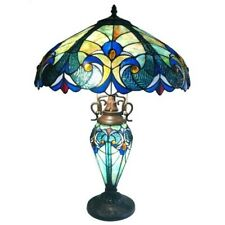 Victorian Tiffany Style Mult-colored Glass Table Lamp With 3 Lights