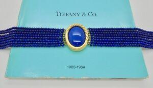 Vintage Tiffany & Co. Angela Cummings Lapis Lazuli Gold Choker Necklace in Case