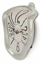 SALVADOR DALI STYLE NOVELTY NEW MELTING SHELF SITTING CLOCK MODERN SILVER COLOUR