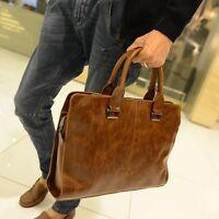 Men's Leather Messenger Shoulder Briefcase Laptop Notebook Bag Handbag Casual
