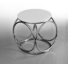 Small Chic Bauhaus Leather Sitting Stool Ø 41 cm Height 44 Cm. White