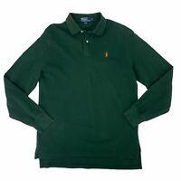 Ralph Lauren Polo Shirt Men's Size Large Green Long Sleeve Collared Casual Prep