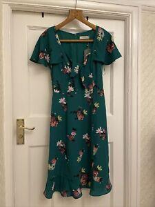 Oasis Pretty Green Floral Tea Dress Size 6 New £45 Longer Length