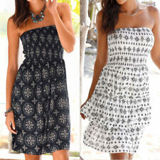 UK Womens Summer Boho Print Bandeau Mini Dress Ladies Holiday Casual Sun Dress