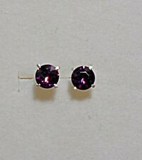 925 St silver studs, made with amethyst Swarovski crystals