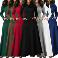 Womens Casual Pocket Solid Cowl Neck Long Sleeve Swing Maxi Dress Plus Size Lot
