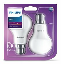 2 Pk Philips LED Frosted B22 Bayonet Cap 100w Warm White Light Bulbs Lamp 1521lm