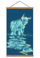 Light Glow Hairy Coo Canvas Wall Art Print Poster Magnetic Hanger 24x12 Inch
