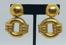 Vaubel Vintage Yellow Gold Plated Large Dangle Clip Earrings