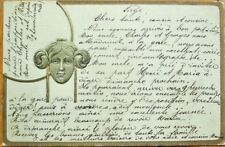 Art Nouveau 1905 Heavily-Embossed Postcard: Woman's Face in Green & Gold