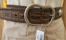 Brighton Brown Rustic Exotic Western Concho Leather Belt Size 32 NWT
