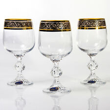 Set of 6 Bohemian Wine Glasses Original Authentic Czech Crystal 8.8 fl oz