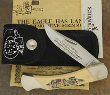 SCHRADE + USA MADE SCRIMSHAW THE EAGE HAS LANDED LOCKBACK KNIFE WITH SHEATH