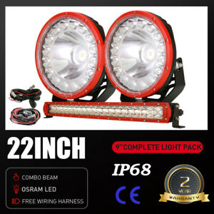 2x 9inch OSRAM LED Driving Lights 22in Light Bar Pods Combo Beam Work Driving