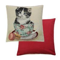 Designer Peggy Wilkins Kitty Cat Kitten Teacup Tapestry Cotton Cushion Cover