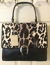 Cavalcanti Black Leather And Leopard Calf Hair Satchel With Cross Body Strap