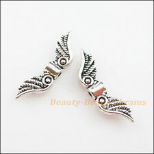 20Pcs Tibetan Silver Tone Angel Wings Spacer Beads Charms 7x23mm