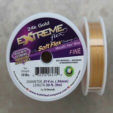 Soft Flex 24k Gold Fine Beading Wire, 30 Foot Spool