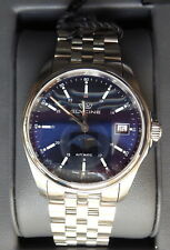 NEW STAINLESS STEEL GLYCINE COMBAT CLASSIC MOON PHASE/DATE GL0193 36MM BLUE