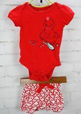 Baby Gap Bodysuit + Knit Bloomer Shorts Girls Matching 2Pc Outfit Red Dog 6-12M