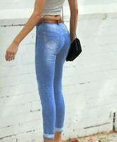 Refuge Denim Jeans  Clothing - Plain Blue Mid Rise Cuffed MID WASH