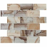 Modern Brick Brown Glass Mosaic Tile Backsplash Kitchen Wall Bathroom MTO0202