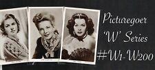 PICTUREGOER - 'W' Series 1940s ☆ FILM STAR ☆ Postcards #W1 to #W200