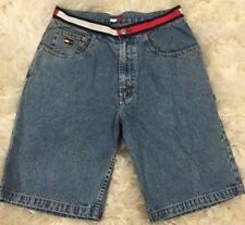 90's Spell Out Tommy Hilfiger Striped Waistband Jean Denim Shorts Men's 31