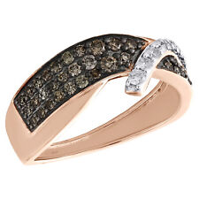 Tiered Bypass Right Hand Ring 1/2 Ct 14K Rose Gold White & Brown Diamond Women's