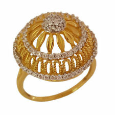 18 Kt Solid Yellow Gold Size 6, 7 Engagement Bridal Ring White Cubic Zirconia CZ
