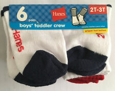 New Hanes 6 Pair Boys Toddler Crew Socks Size 2T-3T With Gripper Foot Bottoms