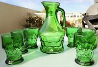 1970s Anchor Hocking Georgian Honeycomb Forest Green Tumblers & Jug Pitcher