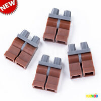 LOT of 4 Genuine LEGO Minifigure Reddish Brown Legs with Bluish Gray Hips NEW