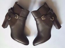 RALPH LAUREN COLLECTION DARK BROWN MEADOW LEATHER ANKLE BOOT EUR40B US9B ITALY
