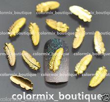 50 Pcs 3D Nail Art Decoration FEATHER Alloy Jewelry Glitter Rhinestone #AM01