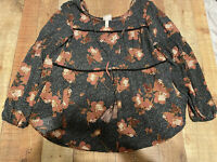 Knox Rose Long Sleeve Blouse Top Boho Hippie Floral Size Large Peasant