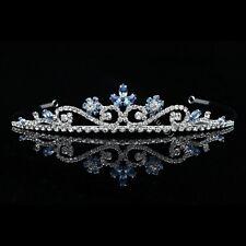 Blue Aquamarine Bridal Wedding Prom Rhinestone Crystal Flower Crown Tiara 8804