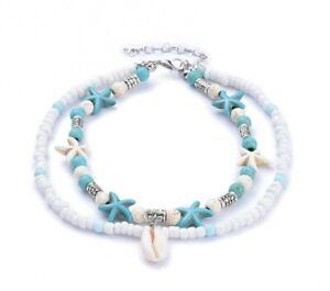 CAVIGLIERA donna stelle ciondoli argento azzurro celeste turchese bianco perline
