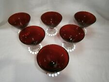 7  ( 6 & 1 SPARE) RETRO SET OF ANCHOR HOCKING RUBY GLASS SWEET COMPORTS