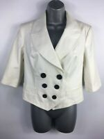 BNWT WOMENS NEXT CREAM DOUBLE BREASTED BUTTON UP SHORT SUIT BLAZER JACKET UK 10