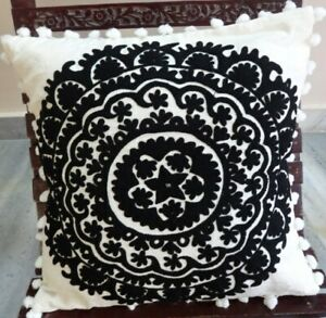 Suzani Euro Cushion Cover 24X24 Embroidery Pillow Case Boho Square Throw Cushion