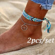2pcs/set Vintage Woven Rope Wave Silver Pendant Anklet Handmade Weave Jewelry