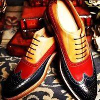 Handmade Men's Genuine Black, Red & Tan Leather Wingtip Oxford Brogue Shoes