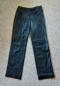 ANN TAYLOR LOFT Womens Lined 100% Leather Pants Sz 6 Black