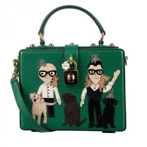 DOLCE & GABBANA Leather DOLCE BOX Bag with Designer Cats Dogs Patch Green 09589