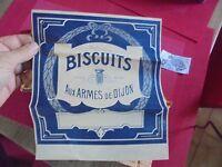"""Ancienne Affichette  Etiquette de Boite de Biscuits """"AUX ARMES DE DIJON"""