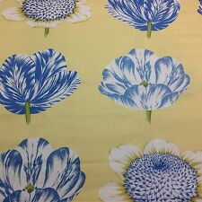 Williamsburg Tulipomania Fabric Bluebell Cotton Bold Floral  Blue Yellow 1 Yard