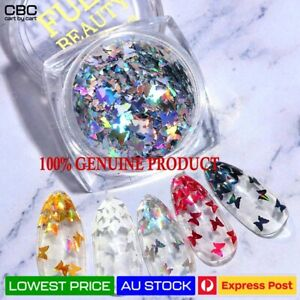 3D Butterfly Nail Sequins Flakes Holographic Glitter Sparkle Slice Mirror Art AU