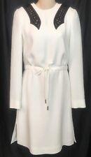 Louis Vuitton Dress White/ Leather  Design Drawstring Waist NWT$3250 Size 34